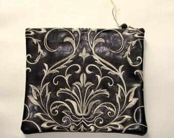 Black vinyl zippered pouch in a white topstitching fleur de fleur style 770d515a27a43