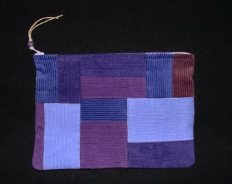 XL Grape Rainbows end, lavender purple corduroy patchwork zippered pouch handmade by me, Miss Patch