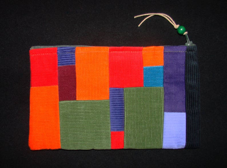 large Rainbow patchwork corduroy zippered pouch handmade by me Miss Patch