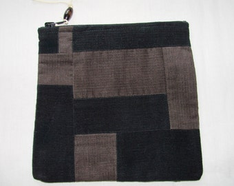 Dark chocolates, black and brown corduroy patchwork zippered pouch handmade by me, Miss Patch