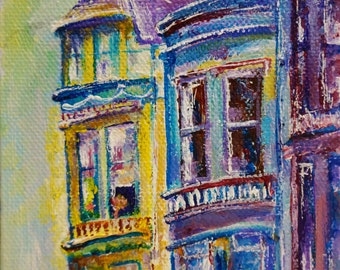 """Victorian Houses at San Francisco California Painting by marinelaArt - Acrylic Fine Art Painting on 4"""" x 6"""" Canvas Paintings"""