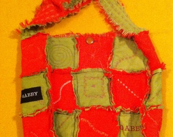 """Quilted  SLOUCH SHOULDER TOTE . 17""""x 20""""   """"Rag"""" Design"""