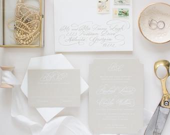 White Ink Calligraphy Wedding Invitation Suite, Custom Hand Calligraphy Invites, Neutral Color Wedding Invitations | SAMPLE | Treasured