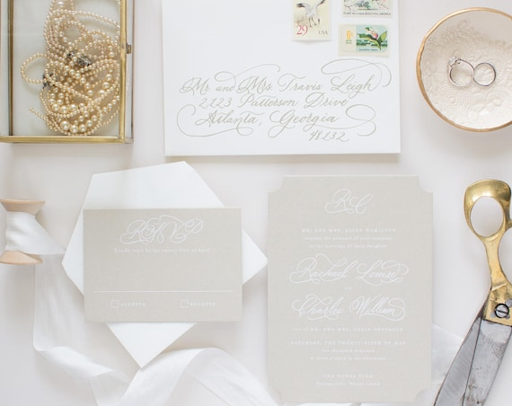 White Ink Calligraphy Wedding Invitation Suite, Custom Hand Calligraphy Invites, Neutral Color Wedding Invitations | SAMPLE | Treasured