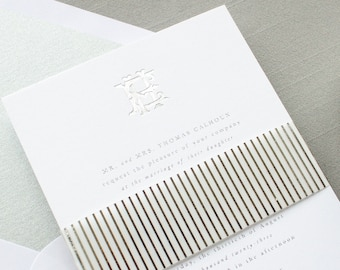 Silver Foil Wedding Invitations with Interlocking Monogram, Custom Invitations in Foil Stamping   SAMPLE   Crest