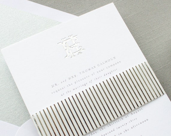 Silver Foil Wedding Invitations with Interlocking Monogram, Custom Invitations in Foil Stamping | SAMPLE | Crest