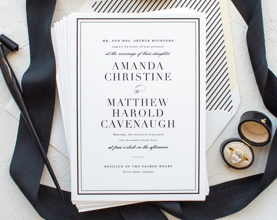 Classic Wedding Invitations for Notre Dame Brides, Black Foil Stamp Invitations for Formal Weddings | SAMPLE | Classic Border