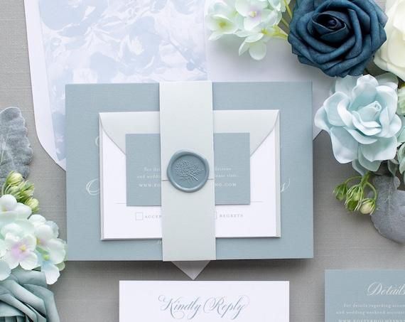 Dusty Blue Wedding Invitations, Script Monogram, Traditional Invitation Suite for Classic Weddings | SAMPLE | Beloved