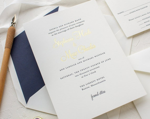 Custom Letterpress Wedding Invitation, Gold and Navy Invitations, Gold Foil Invites | SAMPLE | Stephanie
