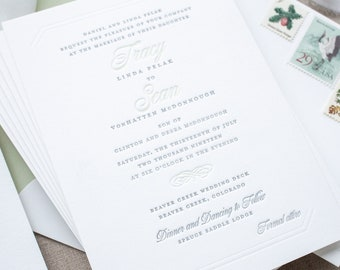 Mountain Wedding Invitations in Sage and Gray, Custom Invitation Suite on Thick Paper for Formal Destination Weddings   SAMPLE   Tracy
