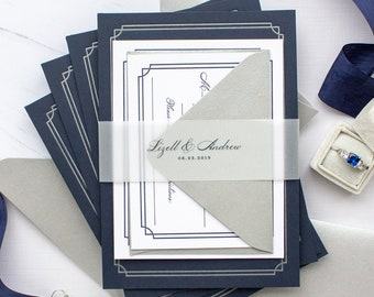 Notre Dame Wedding Invitations, Custom Letterpress Invitations with Silver Foil on Navy Paper | Basilica Weddings | SAMPLE | Lizett