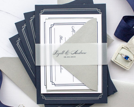 Notre Dame Wedding Invitations, Custom Letterpress Invitations with Silver Foil on Navy Paper | Basilica Weddings | SAMPLE | Lizett