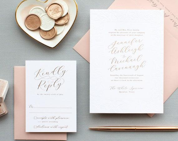 Rose Gold Foil Wedding Invitations, Blind Deboss and Rose Gold Foil Stamp Calligraphy Script Names Wedding Invitation| SAMPLE | Charming