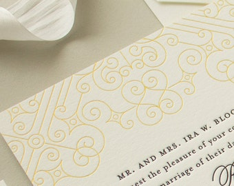 Gold Foil Wedding Invitations, Vintage Art Deco Letterpress Invitations with Gold Edge Painting, Letterpress Wedding Invite SAMPLE | Posh