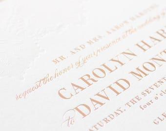 Rose Gold Foil Invitations, Blind Letterpress Lace Wedding Invites, Rose Gold Foil Stamp and Letterpress Invitation   SAMPLE   Delicate