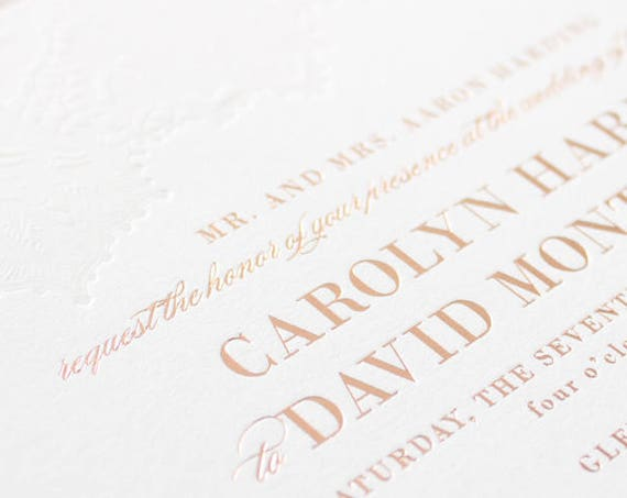 Rose Gold Foil Invitations, Blind Letterpress Lace Wedding Invites, Rose Gold Foil Stamp and Letterpress Invitation | SAMPLE | Delicate