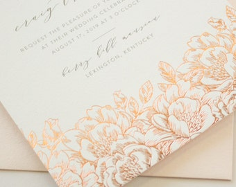 Foil Stamped Wedding Invitations, Romantic Invitations with Rose Gold Flowers, Invitation with Rose Gold Foil Stamping, SAMPLES   Enchanted