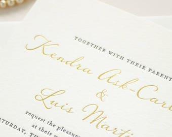 Gold Foil Wedding Invitation, Blind Impress Lace, Navy Letterpress, Blind Letterpress Romantic Invites, Letterpress SAMPLES   Harmony