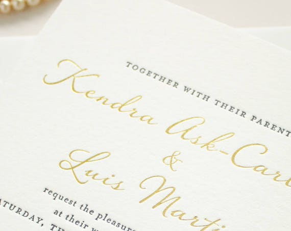 Gold Foil Wedding Invitation, Blind Impress Lace, Navy Letterpress, Blind Letterpress Romantic Invites, Letterpress SAMPLES | Harmony