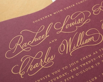 Gold and Burgundy Wedding Invitations, Hand Calligraphy Invitations, Die Cut Wedding Invitations with Calligraphy | SAMPLE | Cherished