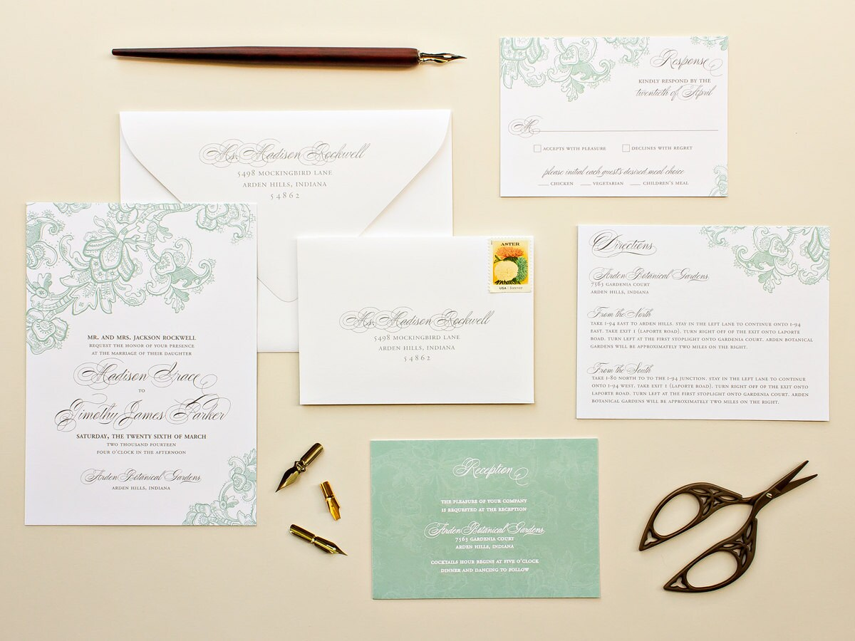 Letterpress Printing Wedding Invitations: Letterpress Wedding Invitations, Mint Wedding Invite