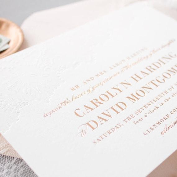 rose gold foil invitations blind letterpress lace wedding etsy