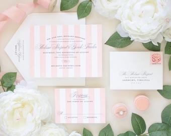 Letterpress Wedding Invitations, Pink Stripes Invite, Calligraphy Script Invites, Formal Wedding, Letterpress Invitation SAMPLES   Debonair
