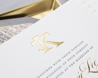 Gold Foil Monogram Wedding Invitations, Wax Seal Invitations for Beaver Creek Colorado Wedding, SAMPLES   Jamie