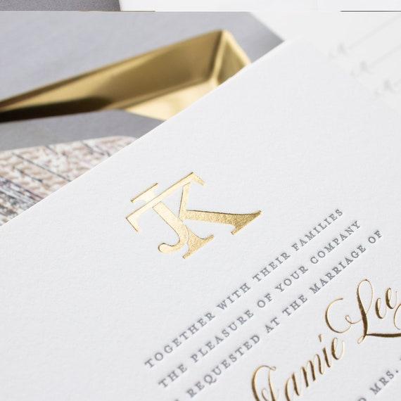 Gold Foil Monogram Wedding Invitations, Wax Seal Invitations for Beaver Creek Colorado Wedding, SAMPLES | Jamie