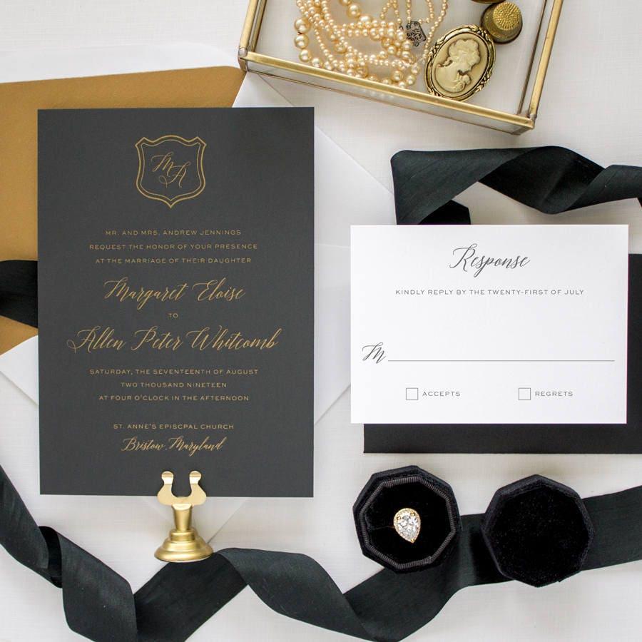 Black Tie Wedding Examples: Metallic Gold Wedding Invitation Suite, Formal Wedding