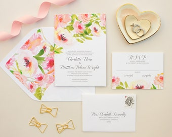 Watercolor Floral Wedding Invitations, Pink Flowers Invitation Suite for Romantic Wedding, Tropical Floral Invitation SAMPLE   Ethereal