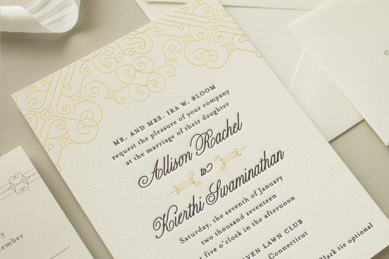 Gold Foil Wedding Invitations Vintage Art Deco Letterpress With Edge Painting Invite SAMPLE