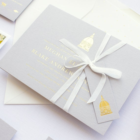 Invitations for Notre Dame Wedding, Grey and Gold Wedding Invitations  with venue sketch   SAMPLE   Golden Dome
