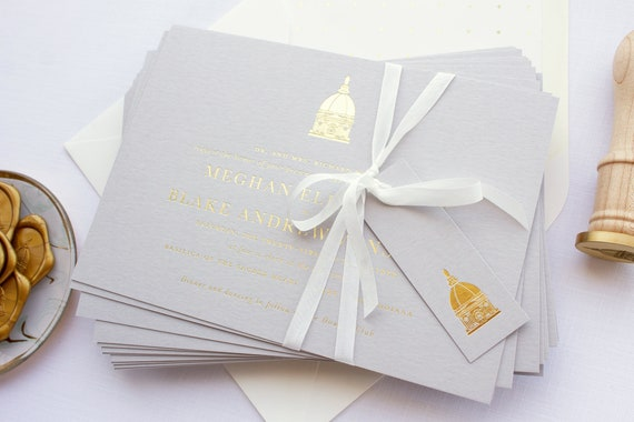 Invitations for Notre Dame Wedding, Grey and Gold Wedding Invitations  with venue sketch | SAMPLE | Golden Dome