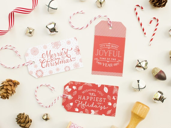 Christmas Gift Tags with Baker's Twine, Red Gift Tags, Die Cut Christmas Present Tags, Holiday Gift Labels