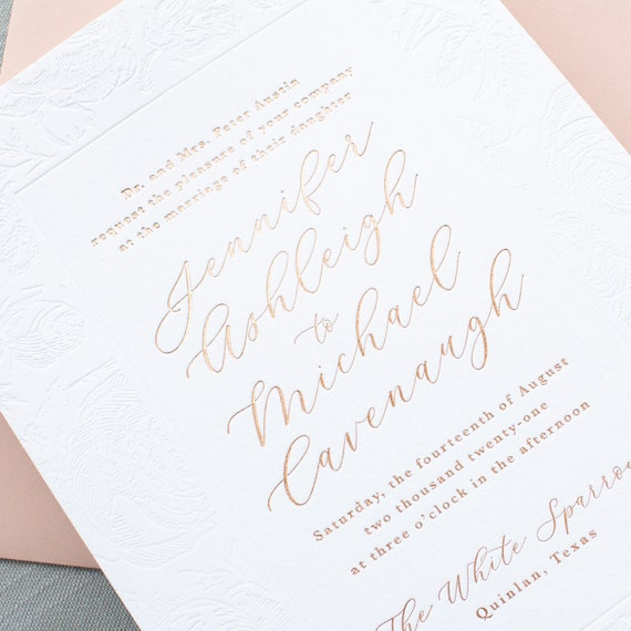 Rose Gold Foil Wedding Invitations, Blind Deboss and Rose Gold Foil Stamp Calligraphy Script Names Wedding Invitation| SAMPLE | Charming