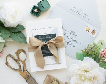 South Bend Wedding Invitations, Custom Letterpress Invitations with Ribbon   SAMPLE   Annie