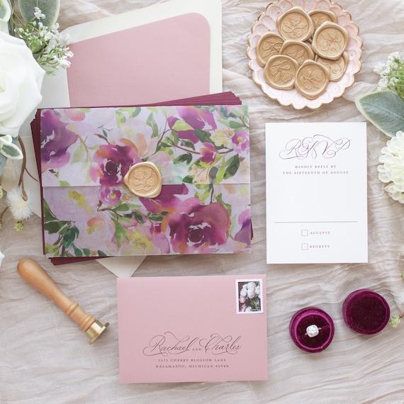 Vellum Overlay Wedding Invitations, Hand Calligraphy Invitations, Gold Foil Wedding Invitations with Calligraphy | SAMPLE | Cherished