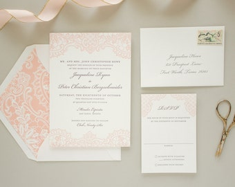 Letterpress Wedding Invitation with Letterpress Lace, Vintage Lace Invitation, Pink Invitations, Elegant Wedding Invite SAMPLE   Hope