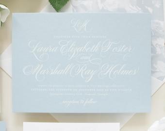 Dusty Blue Wedding Invitations, Script Monogram, Traditional Invitation Suite for Nautical Theme Beach Weddings   SAMPLE   Beloved