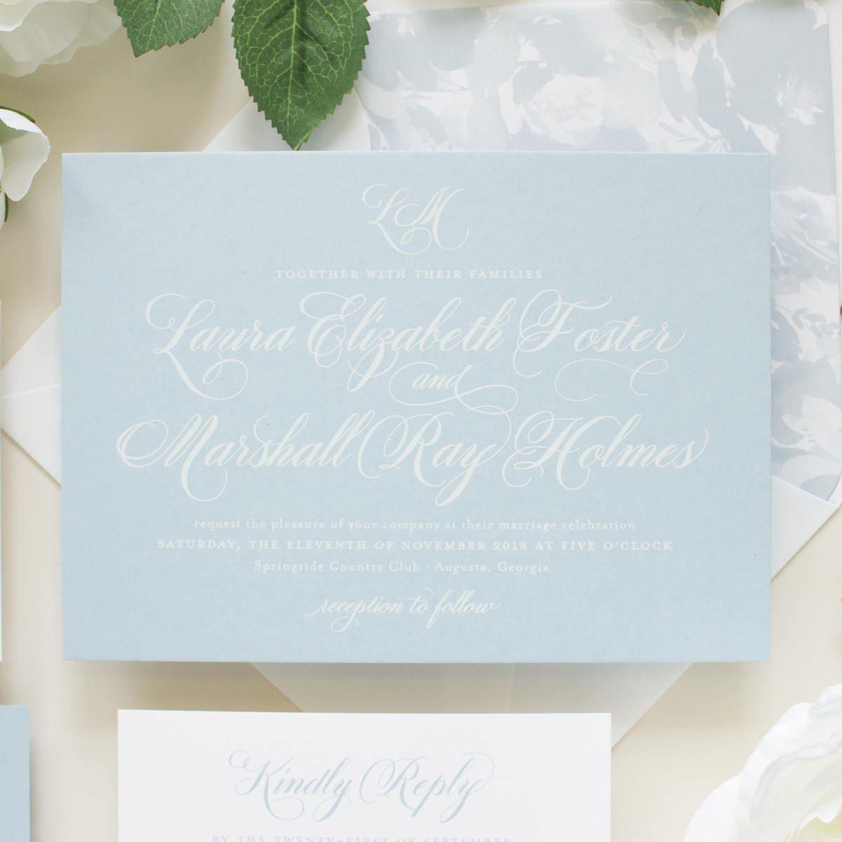 Dusty Blue Wedding Invitations Script Monogram Traditional