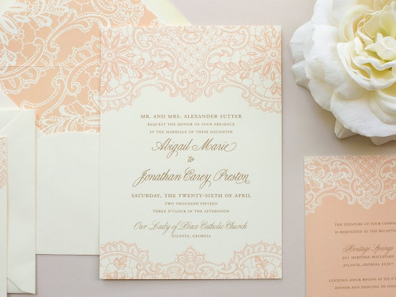 Elegant Lace Wedding Invitation, Vintage Lace Invitation, Peach Invitations, Vintage Wedding Invite SAMPLE | Hope