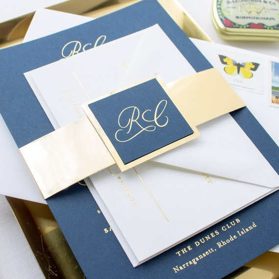 Navy and Gold Wedding Invitations, Foil Calligraphy Invitations for Traditional Weddings Custom Navy Invitation suite | SAMPLE | Traditional