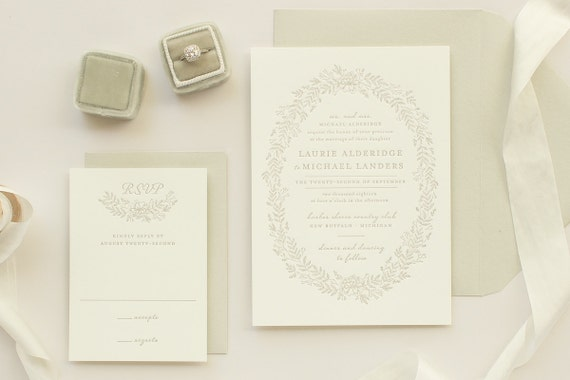 Floral Wreath Letterpress Invitations, Letter Press Wedding Invitation, Taupe Invites with Letterpress Flowers | SAMPLE | Enamored