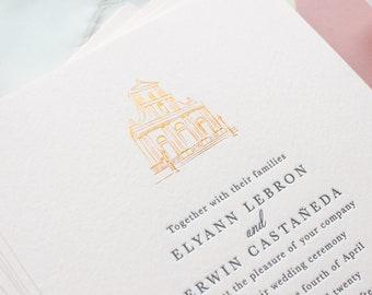 Wedding Venue Illustration Invitations, Custom Letterpress Invitations on Pink Paper with Venue Sketch   SAMPLE   Elyann