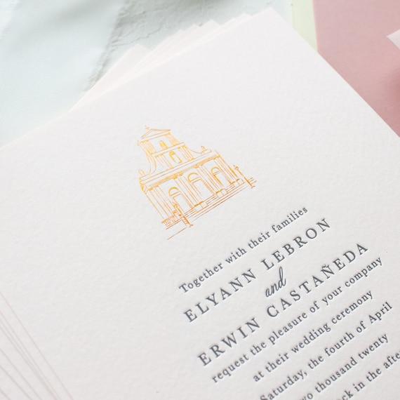 Wedding Venue Illustration Invitations, Custom Letterpress Invitations on Pink Paper with Venue Sketch | SAMPLE | Elyann