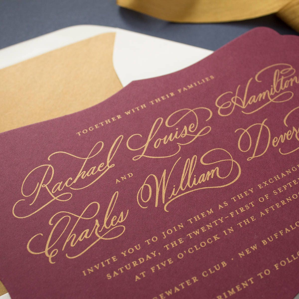 Gold and Burgundy Wedding Invitations, Hand Calligraphy Invitations ...