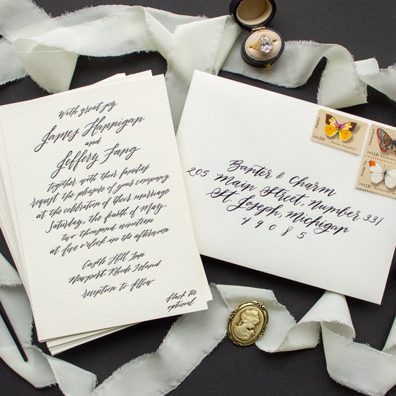 Calligraphy Invitations for Formal Weddings, Modern Calligraphy Wedding Invitation in Black and Ecru | SAMPLE | Contempo
