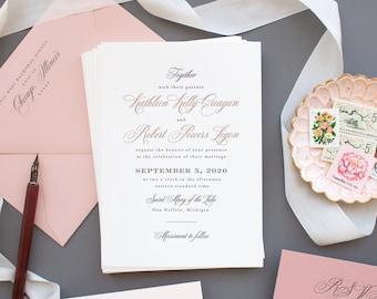 Custom Letterpress Invitations for Journeyman Distillery Wedding, Venue Illustration Invitations in Dusty Rose | SAMPLE | Kathleen