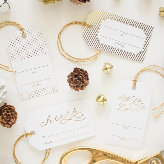 Gold Foil Christmas Tags, Christmas Gift Tags with Gold Baker's Twine, Gold Gift Tags for Christmas Presents, Gold Labels Christmas